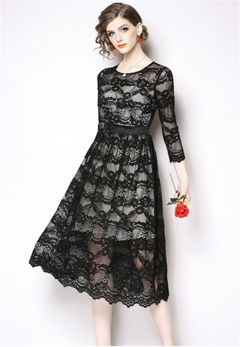 Crystal Korea Fashion black New Lace Round Neck Slim Dress BB74FAAF07C4BAGS_1