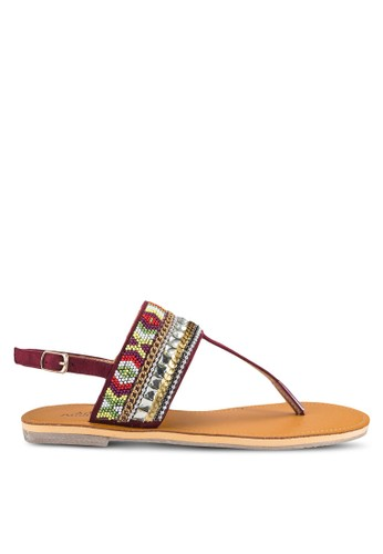 Skyler 民族風串珠Tzalora 手錶 評價 字帶平底涼鞋, 女鞋, 涼鞋