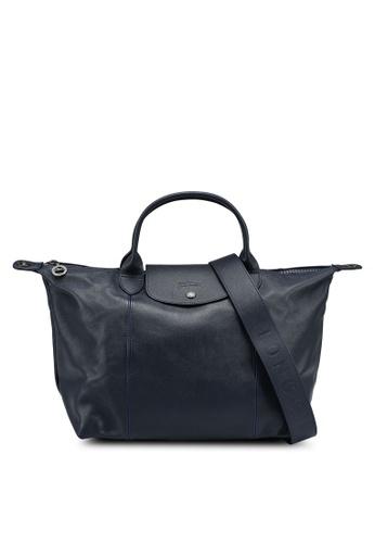 LONGCHAMP blue Le Pliage Cuir Top Handle Bag M (nt) D7407AC6D3DCD0GS_1
