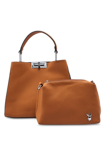 PLAYBOY BUNNY brown 2 In 1 Ladies Handbag E185BAC936AB4BGS_1