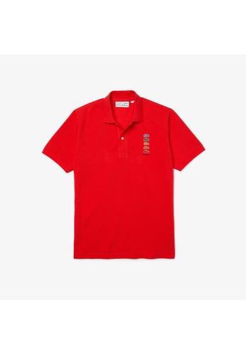 Lacoste red Men's Polaroid Collaboration Coloured Crocodiles Classic Fit Polo Shirt 3DB1BAAB63FF8DGS_1