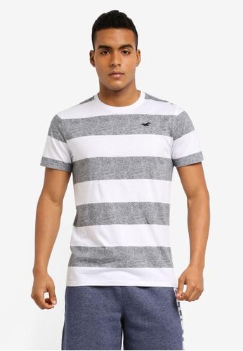 Hollister grey Rolled Cuff Stripes T-Shirt 5663BAA71C3502GS_1