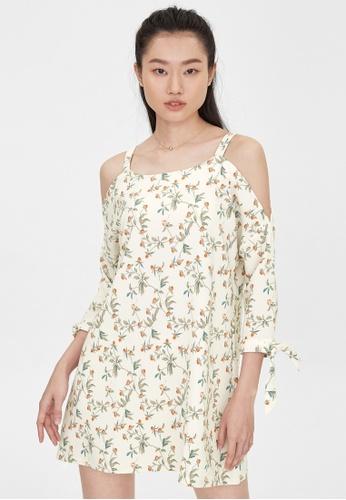 Pomelo beige Cold Shoulder Floral Dress - Cream 4A4D4AA1BC7EA5GS_1