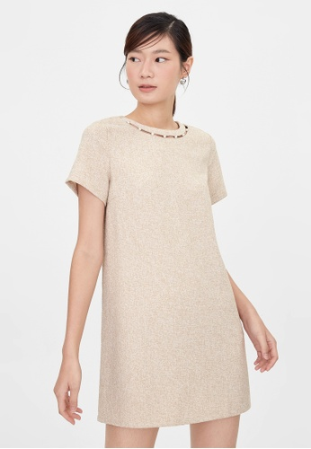 Pomelo beige Mini Tweed Pearl Accent Dress - Beige D6C74AA996D75AGS_1