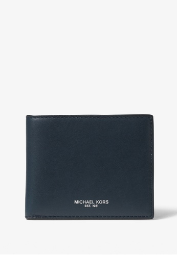 MICHAEL KORS navy Michael Kors Henry Leather Slim Billfold Wallet - Baltico Blue 6736AAC634538DGS_1