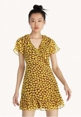 Pomelo yellow Mini Surplice Floral Dress - Yellow 6736BAA7BE16A4GS_1