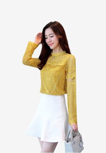 hk-ehunter yellow Hollow Out Crochet Lace Blouse 5524FAA737FA89GS_1