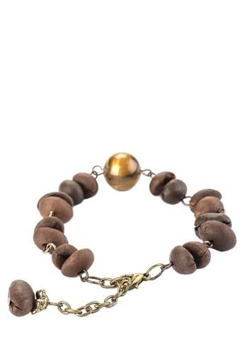 JOGLO AYU TENAN brown Coffee Beans and Tiger Eyes Stone Chain Bracelet 55E75AC9F1F002GS_1