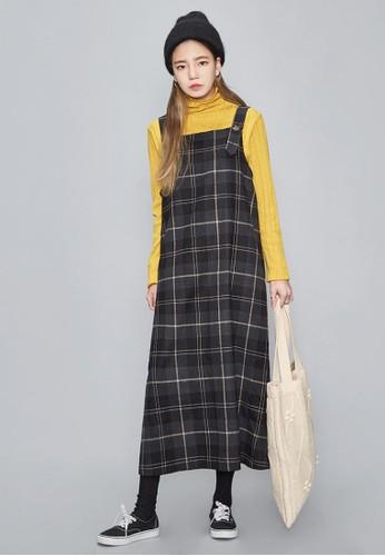復古格子zalora 衣服尺寸背帶長裙, 服飾, 長洋裝