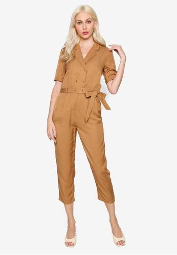 Hopeshow brown Capri Linen Jumpsuit with Tie Belt 5B093AA4447020GS_1