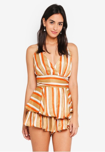 INDIKAH orange Ruffle Striped Playsuit 73A98AA3A7CFB8GS_1