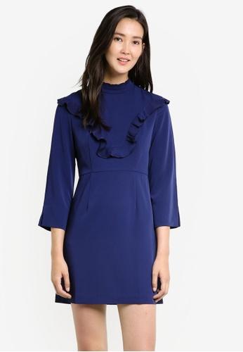 KLEEaisons navy Mock Collar Ruffled Dress KL492AA00FFRMY_1