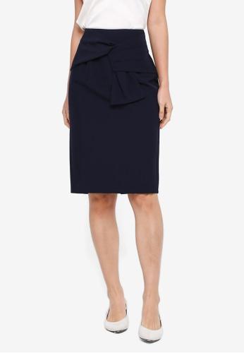ZALORA navy Faux Wrap Skirt C5CCDAA463100BGS_1