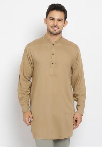 Emikoawa brown Baju Kurta Pria Samir Brown 85B73AAA86309CGS_1