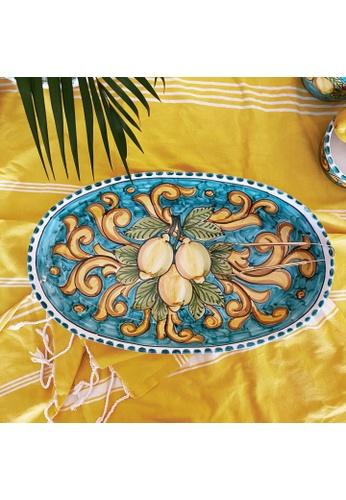 Living DNA Lemon Ceramic Oval Platter Turquoise 55886HLAEE7AE6GS_1