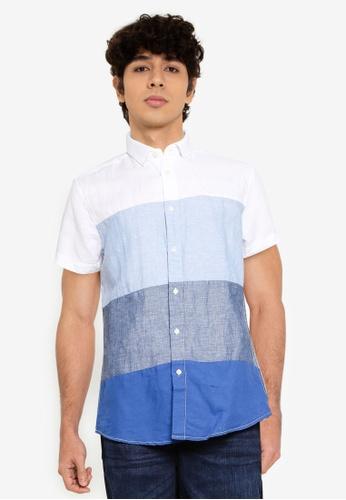 Springfield blue Colour Block Linen Shirt DCF89AAD6D92ADGS_1