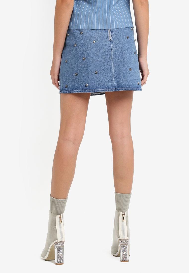 Something Studded Denim Borrowed Medium Mini Skirt Blue r6ZrqOzxw