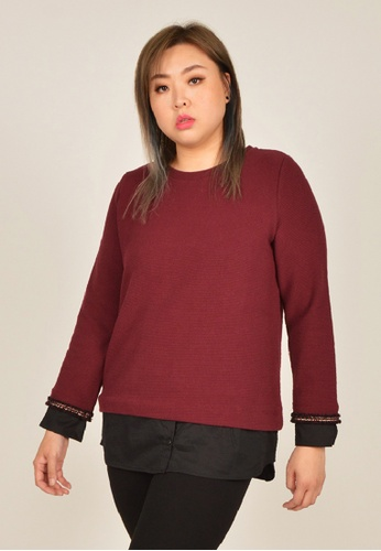 Cheetah red Arissa Plus Size Long Sleeve Combined Top - ARS-6606-C1 675F7AA2D3D159GS_1