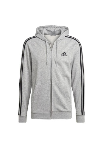 ADIDAS grey adidas Essentials French Terry 3-Stripes Full-Zip Hoodie DF3AEAA45493D1GS_1