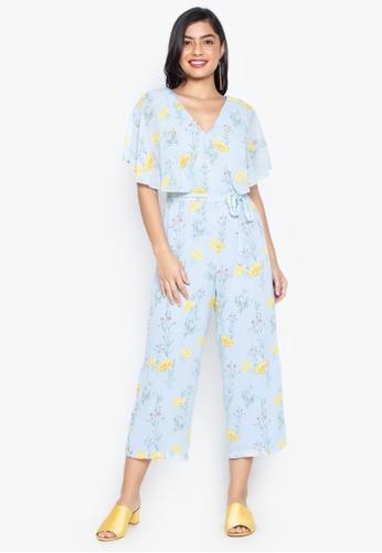 9d272fc1f71 Dorothy Perkins blue Floral Chiffon Cape Sleeve Jumpsuit 68C0EAA6F5C4E3GS 1