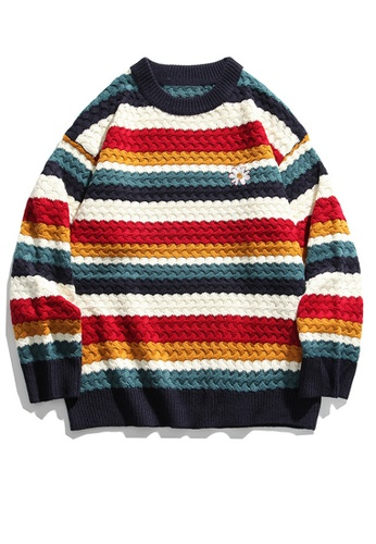 Twenty Eight Shoes Loose Contrast Stripe Knit Sweater HH0524 A5B15AA1DAD613GS_1