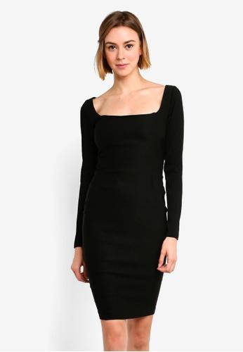 ca1a61351b27c9 Shop Vesper Millie Ribbed Sleeve Bodycon Dress Online on ZALORA Philippines