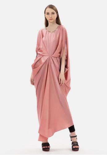 MKY Clothing pink MKY Rhinestone Drapped Kaftan in Pink F2FFEAAB1DA720GS_1