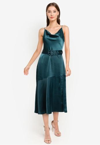 ZALORA OCCASION green Draped Bias Neckline Midi Dress With High Slit 51FFCAAA97BBA9GS_1
