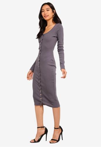 c0f60871b7584 Buy MISSGUIDED Ribbed Popper Long Sleeve Midi Dress Online on ZALORA ...
