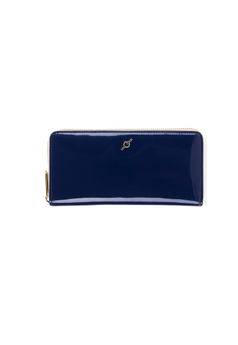ENZODESIGN navy Patent Leather Standard Zip Around Long Wallet 0E5E6AC3AA6329GS_1