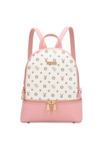 PLAYBOY BUNNY 粉紅色 Women's Monogram Printed Backpack 1C6A9AC5E325A0GS_1