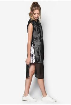 Abstract Print Mesh Overlay Column Dress