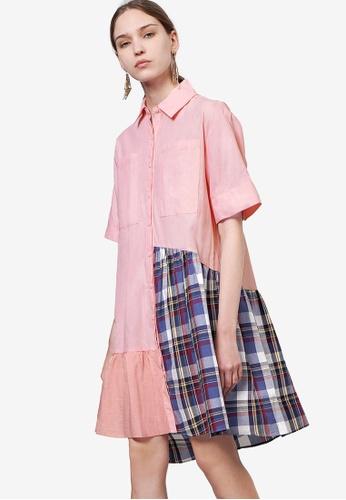 Saturday Club 粉紅色 Contrast Asymmetric 襯衫洋裝 68CDFAA21444E9GS_1