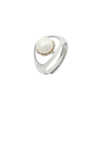 Glamorousky white 925 Sterling Silver Simple Temperament Hollow Geometric Flower Freshwater Pearl Adjustable Ring 87859AC84844BBGS_1