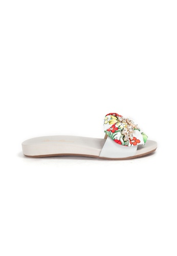 Shu Talk grey Summer Floral Fabric Bow Comfy Sandals DB818SHB2C4B4FGS_1