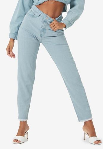 MISSGUIDED blue Riot High Waisted Plain Mom Jeans 40ABCAA444CEA7GS_1