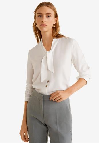 Mango white Bow Neck Shirt 93816AA836AB54GS_1