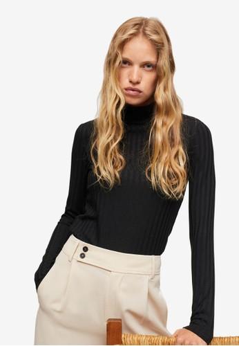 Mango black Ribbed Long-Sleeved T-Shirt B8B1CAA139C261GS_1