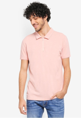 ZALORA pink Zip Polo Shirt With Contrast Collar 6803DAA1D737C7GS_1