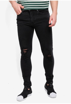 3406d78a325b Topman black Washed Black Ripped Spray On Jeans 35938AA5E6E659GS 1