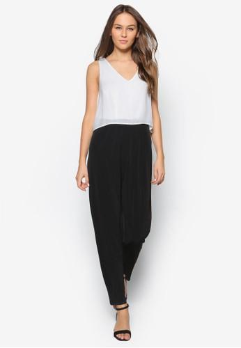 Petite 雙色連身長褲salon esprit, 服飾, 簡約優雅風格