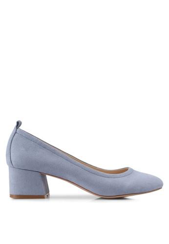 ZALORA 灰色 經典麂皮粗跟高跟鞋 30392SH5410147GS_1