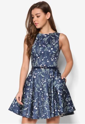 花卉腰帶傘擺esprit hk洋裝, 服飾, 洋裝