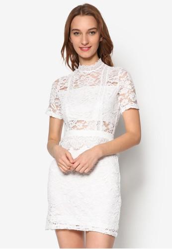 蕾絲高領貼身連身裙,esprit女裝 服飾, 洋裝