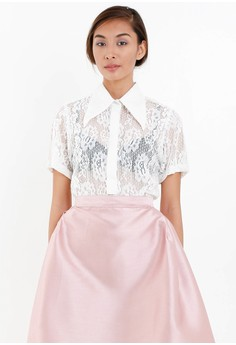 [PRE-ORDER] Short Sleeved Half Open Shirt in Stretch Lace