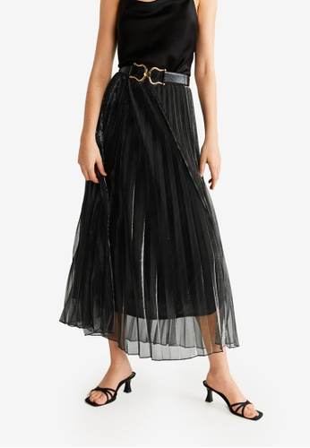 Mango black Pleated Metal Thread Skirt EFFCFAA1BB958EGS_1