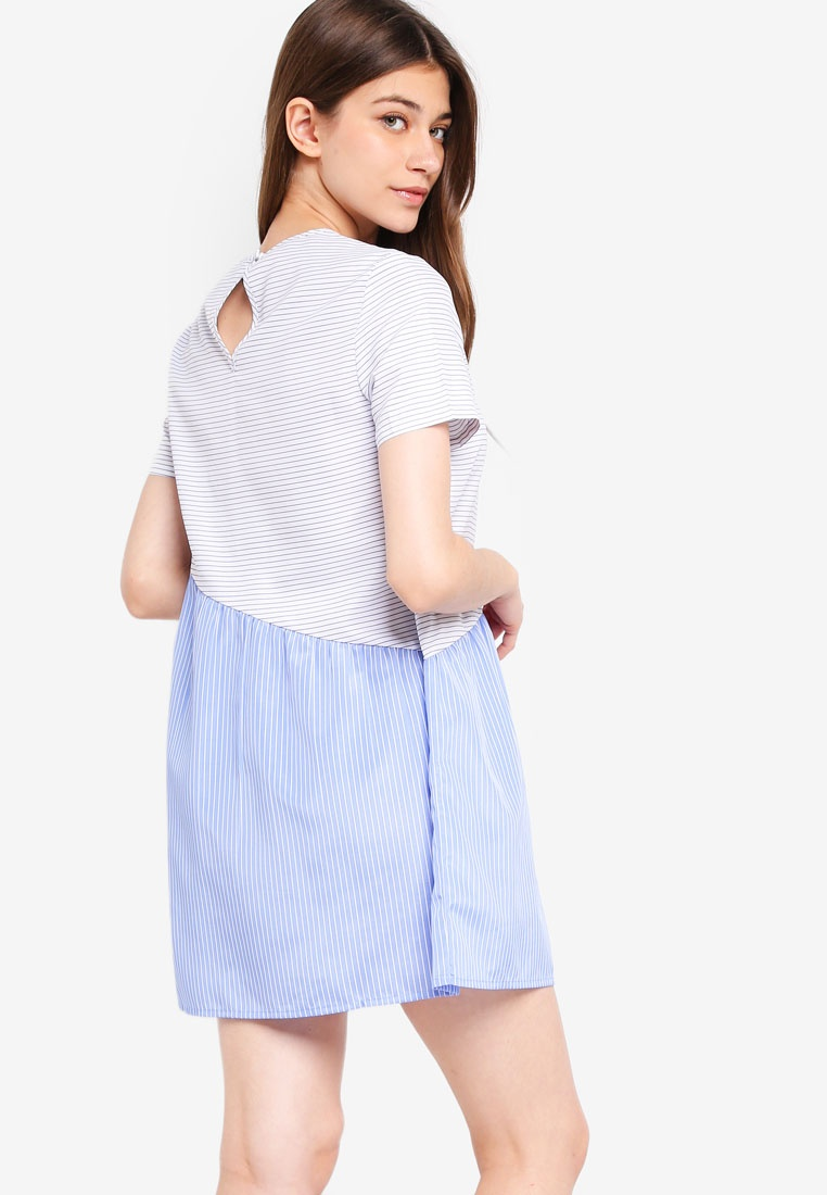 Blue Borrowed Dress Babydoll Stripes Something Asymmetric White P1Ugqpx