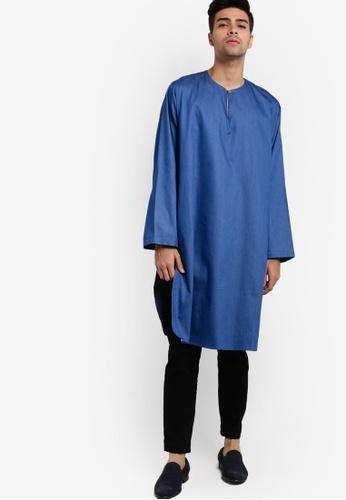 Rizalman for Zalora blue Boujad Kurta Top RI909AA54XIVMY_1