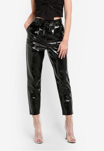 Miss Selfridge black Black Vinyl Paperbag Trousers MI665AA0S6FVMY_1