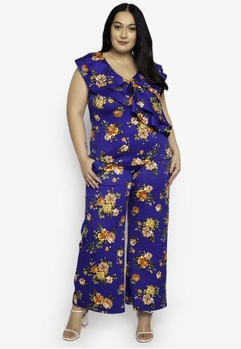 Ashley Collection multi Plus Size Floral Collection Drape Ruffle Top & Pants Co-Ordinate Sets 548DDAA13CBE67GS_1